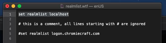 ChromieCraft AzerothCore localhost realmlist